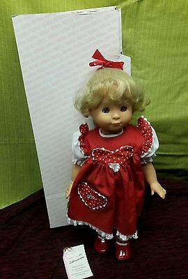 "Gotz Doll Mabel In Red Dress 18"" German 1990 Original Box"