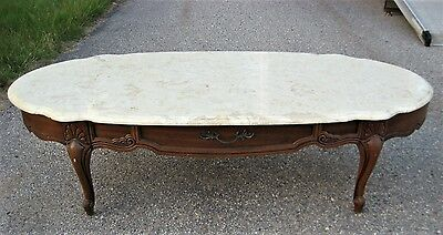 Vintage Oval Coffee Table Faux Marble Top