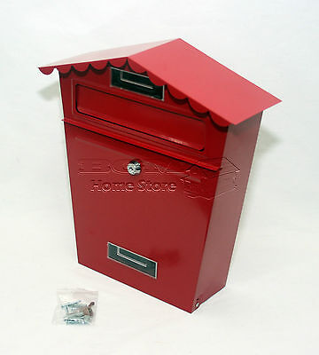 Red Large Lockable Outside Letterbox Letter Post Mail Box Postbox & Fixing Kit