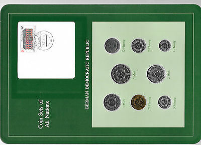 Coin sets of all nations East Germany Dem. Rep. w/card 1980-1987 UNC 1 Mark 1987