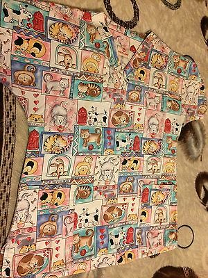 Women's White Cross Cats & Dogs Print Scrub Top Blouse Size Medium