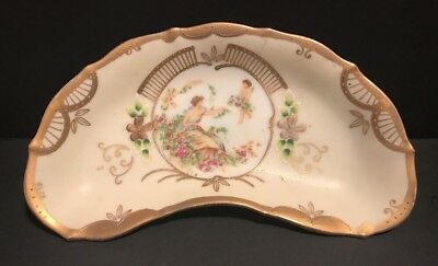 Vintage Hand Painted Bone China Crescent Dish Plate Lenwile Ardalt Japan 6812C