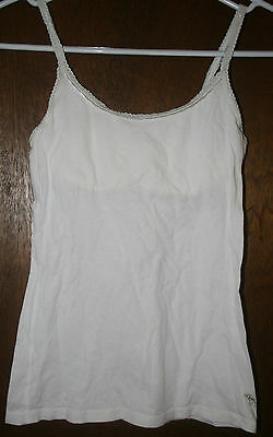 Abercrombie White With Silver Lace Trim Tank Top Cotton Shirt Girl's Size Large