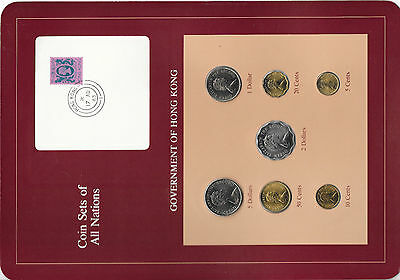 Coin Sets of All Nations Hong Kong w/card 1979-1983 UNC $1 & $2 1980 $5 1982