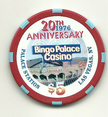 $5 chip from Las Vegas -- Palace Station Casino -- 20th Anniversary, 1996