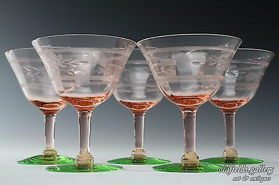 Tiffin Watermelon Pink Green Glass Sherbert Cut Depression Champagne Goblet Set