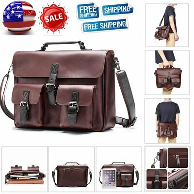 Men Messenger Bag Coffee PU Leather Handbag Shoulder Briefcase Business Travel