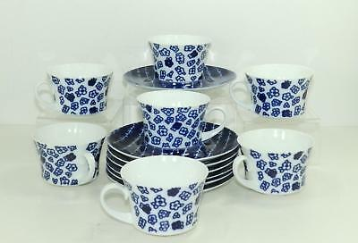 7 Piece Block Bidasoa Cups and Saucers Set, Variance Pattern, Made in Spain