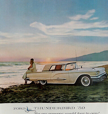 Vintage 1959 Ford Thunderbird car auto advertisement art print ad