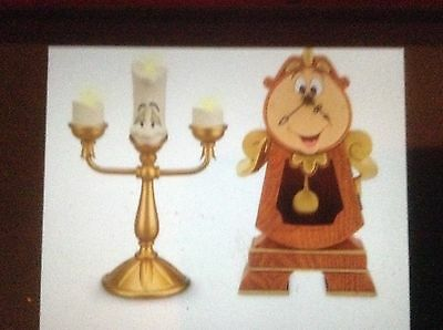 NEW Disney Parks Beauty & Beast COGSWORTH & LUMIERE Medium Big Fig Figures-SET