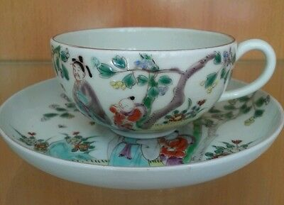Antique Signed Japanese Fine Bone China Cup & Saucer Hand Painted