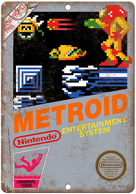"""Nintendo Metroid Game Cartrige Cover Art - 10"""" x 7"""" Reproduction Metal Sign"""