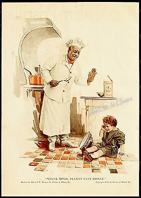1916 Orig CREAM OF WHEAT RASTUS Crying Child Spilled Cereal Brewer Art Vtg AD