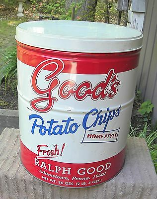 Vintage GOOD'S Homestyle Potato Chip Food Advertising Tin Can Adamstown, PA.