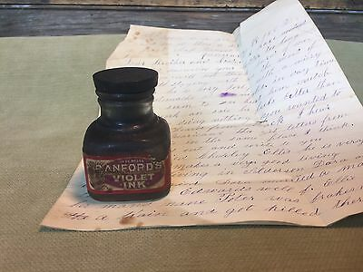 Antique Sanford's Violet Ink Bottle And Letter