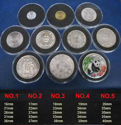 50 US Commemorative Capsules Coin Holders Case Display 16- 41mm Adjustable Black