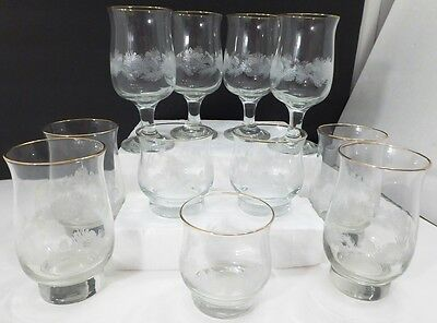Vintage 1980s Arbys Libbey Clear Etched Rustic Pine Cones Needles Gold Glass Lot