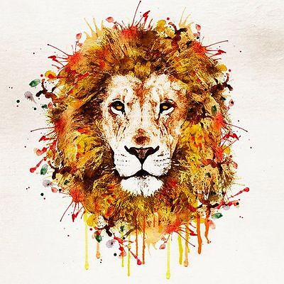 Lion watercolour painitng colourfull  Canvas home wall art choose your size
