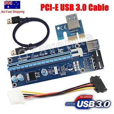 USB3.0 Pcie PCI-E Express 1x To 16x Extender Riser Card Adapter Power BTC Cable
