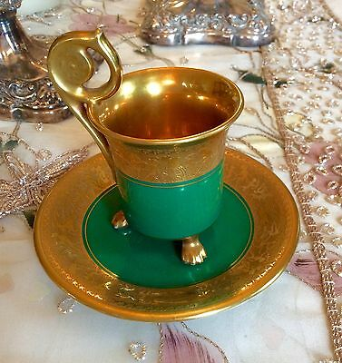 Bavarian Elegant Demitasse In Heavy Gold And Green Stunning Swirl Handle Footed