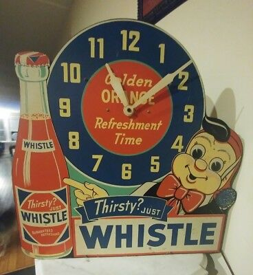 "Rare Vtg 1940's Whistle Orange Soda Pop Gas Oil 24"" Clock Sign Works Great Color"