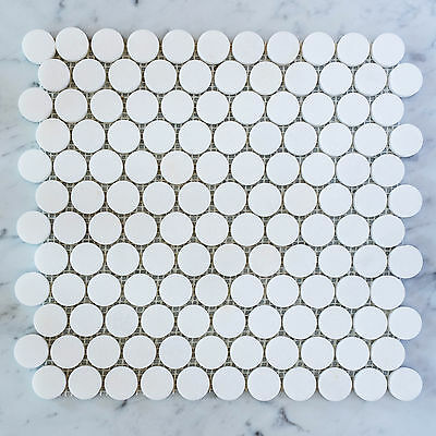 Thassos Marble Penny Round Mosaic Tiles (Sample)
