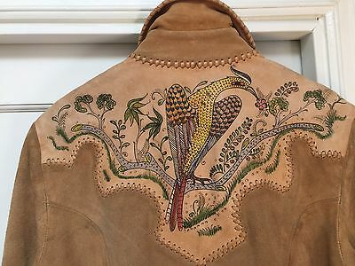 """Vintage CHAR Leather Jacket suede 60's hand painted """"Amazing!"""" Large"""