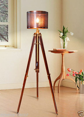 Nautical Antique Look Wooden Tripod Floor Light Lighting Lamp Without Shade