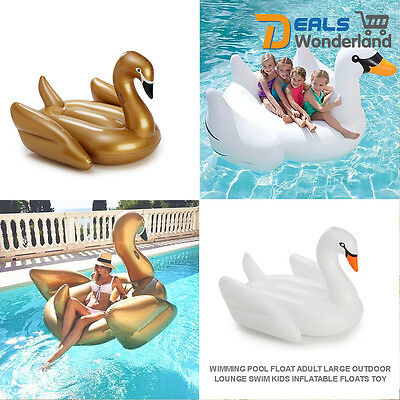 Giant Rideable Swan Inflatable Float Toy White Summer Swimming Pool Kids
