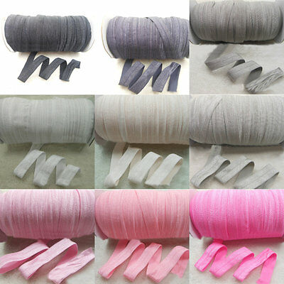 5 Yard Solid Fold Over Elastics Polyester Satin Band Lace Sewing Trim DIY Craft