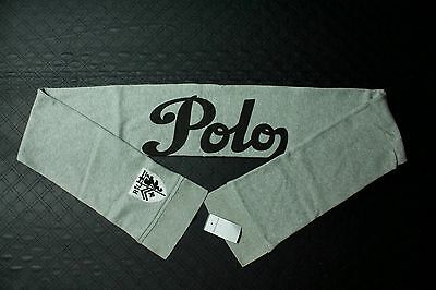 "Polo Ralph Lauren gray 55 polo spell out scarf with patch 6.5"" X 68"""
