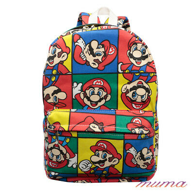 Colorful Super Mario Printed Shoulder Bag Student Backpack Schoolbag Rucksack