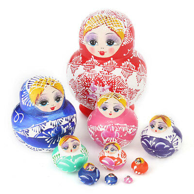 10 Pcs Cute Babushka Nesting Dolls Matryoshka Wooden Russian Painted Toy Gift