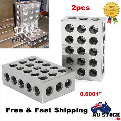 "2 X Engineers 1-2-3 Blocks 0.0001"" Precision Matched Machinist 123 Milling Tool"