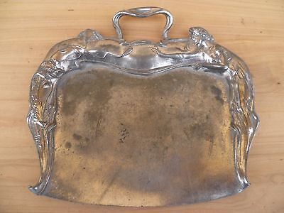 Old Art Nouveau Style Crumb Tray, Old Figuraltray (F461)