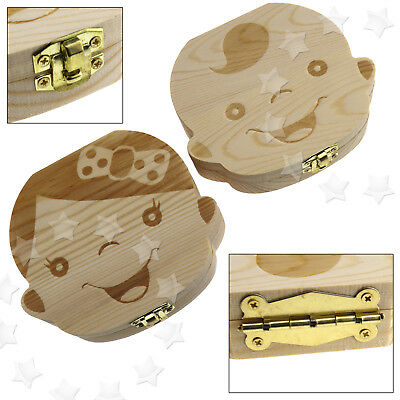 Tooth Box Organizer Baby Save Milk Teeth Wood Storage Box for kids Boy Girl HG