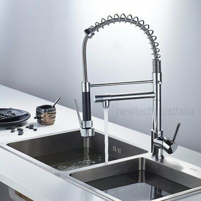Chrome Brass Pull Out Down Tap Tall Kitchen Sink Mixer Faucet Swivel Spout Spray