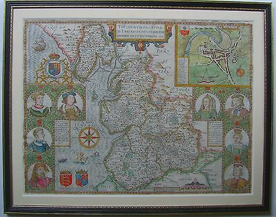 Lancashire: antique map by John Speed, 1611 (1676 edition)