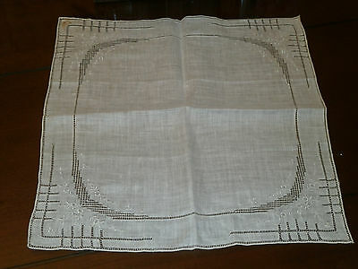 """Early 1920 Dainty Hankie So Fine Linen Drawn and Embroidery Hand Made 11"""" by 11"""