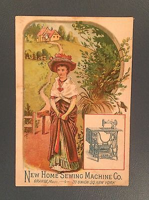 Victorian Trade Cards, New Home Sewing Machine Co, Orange MA, New York, Woman