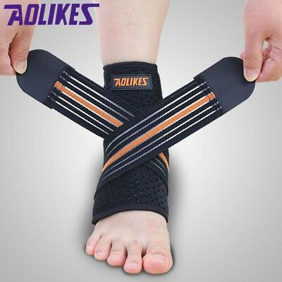 Black Adjustable Foot Compression Ankle Stabilizer Brace Support Pain Relief
