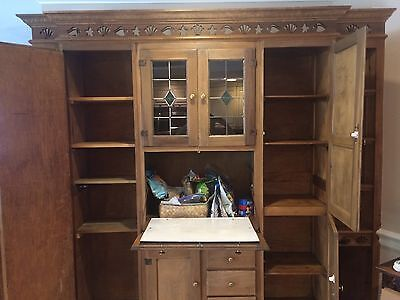 antique kitchen cabinet hutch unknown maker ash brown color stained glass - Antique Kitchen Hutch