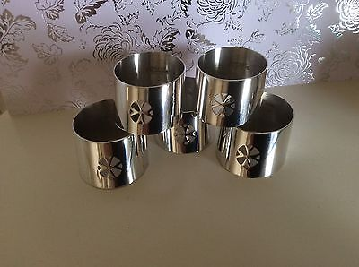 5 Silver Plated Napkin Rings Handcrafted In Malter.