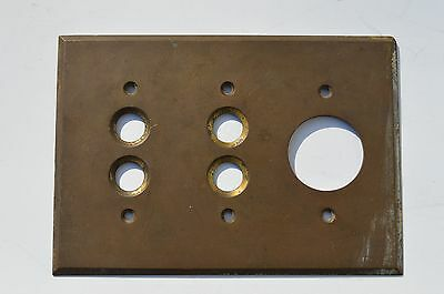 Antique Victorian Heavy Solid Brass Push Button Light Switch & Outlet Plate Cove