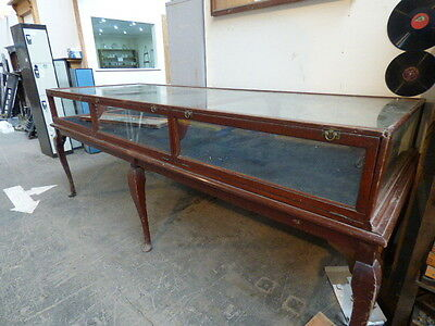Edwardian Vintage Very Large Glass / Wood Display Table/Cabinet