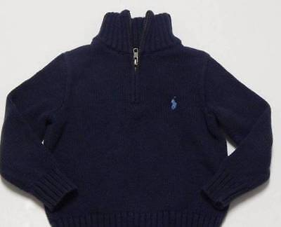 Polo Ralph Lauren 1/4 Zip Sweater 3 3T Pull Over Navy Light Blue Pony