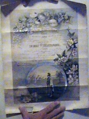 1909 Marriage Certificate, 108 Years Old, Found in Attic, photo's do no justice.