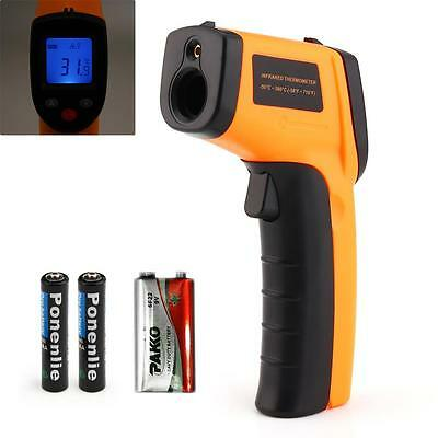 Temperature Gun Non-contact Infrared IR Laser Digital Thermometer+9V Battery FT