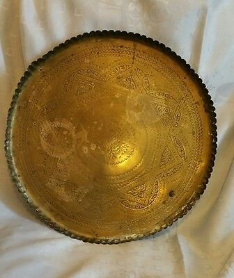 Antique brass eastern tray drinks tray hand tooled star pattern