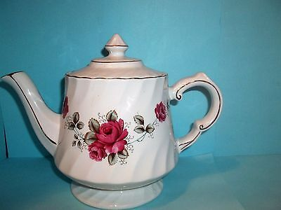 Arthur Wood Swirl Teapot With Gold Trim -Pink Roses - #340